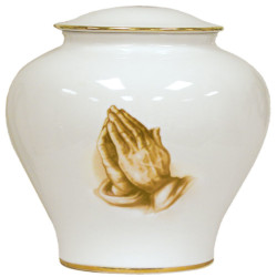 Praying Hands Porcelain Urn